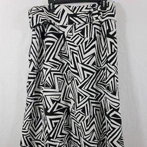 Ashley Stewart Flare A-Line Skirt Black White